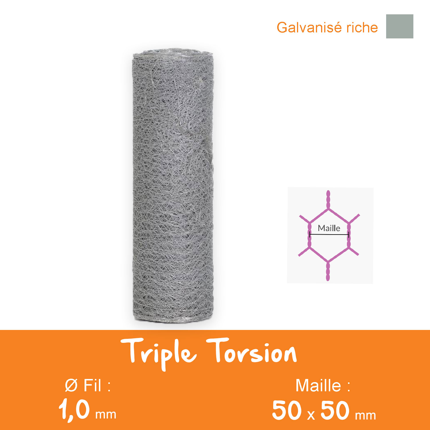 Triple Torsion Galvanisé - Maille 50 mm - Ø 1,0 mm - Lg. 50 ml