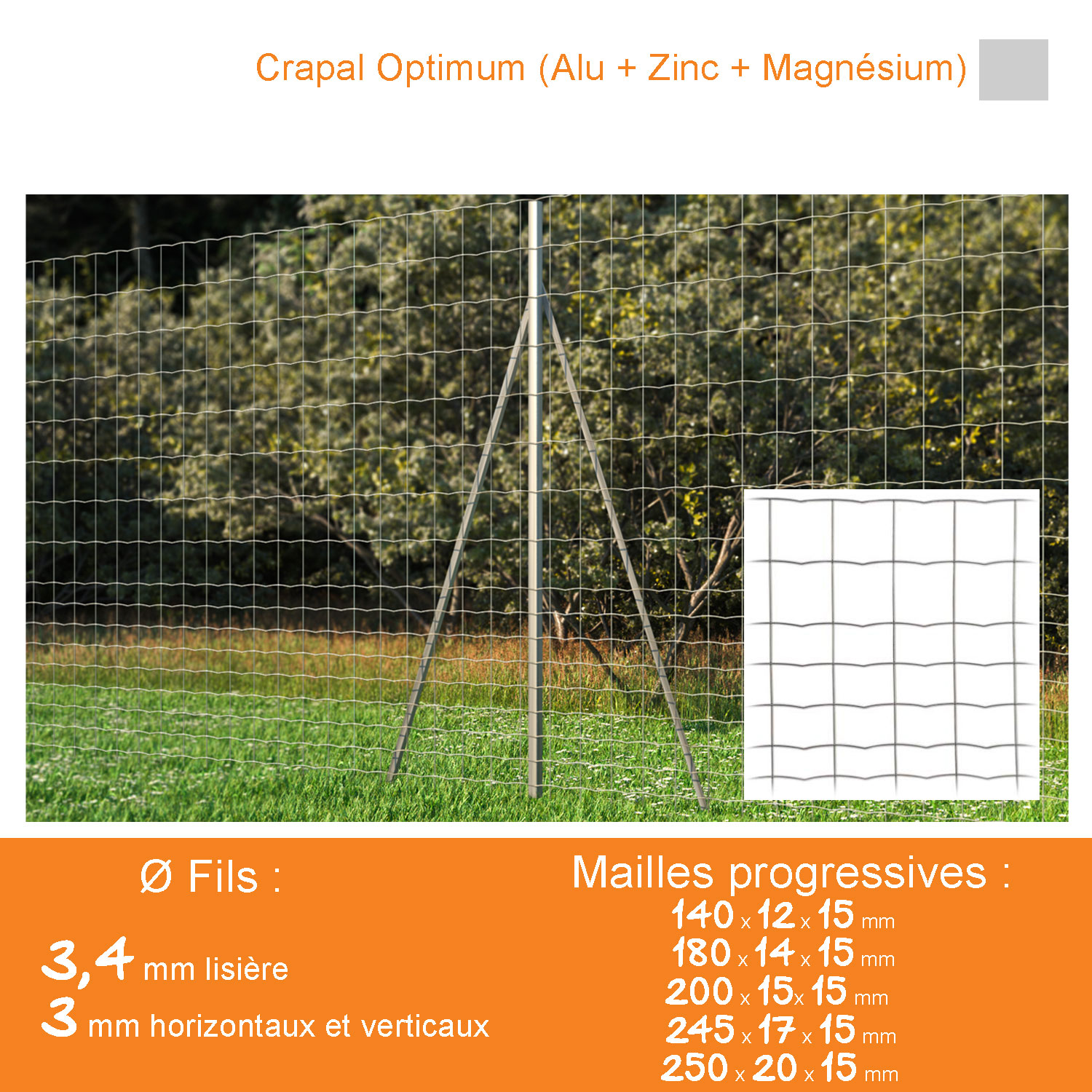 Grillage soudé ATAK LOURD Mailles progressives - Crapal Optimum Ø 3,4 / 3 mm - Lg. 50 m