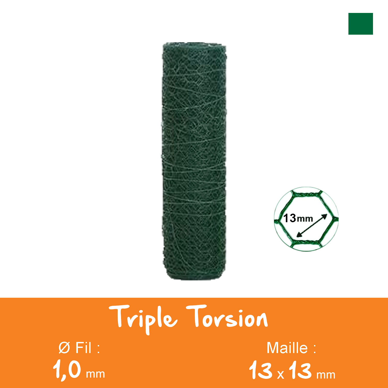 Triple Torsion Plastifié Maille 13mm Ø1,0mm Ht.0m50 Lg.10ml