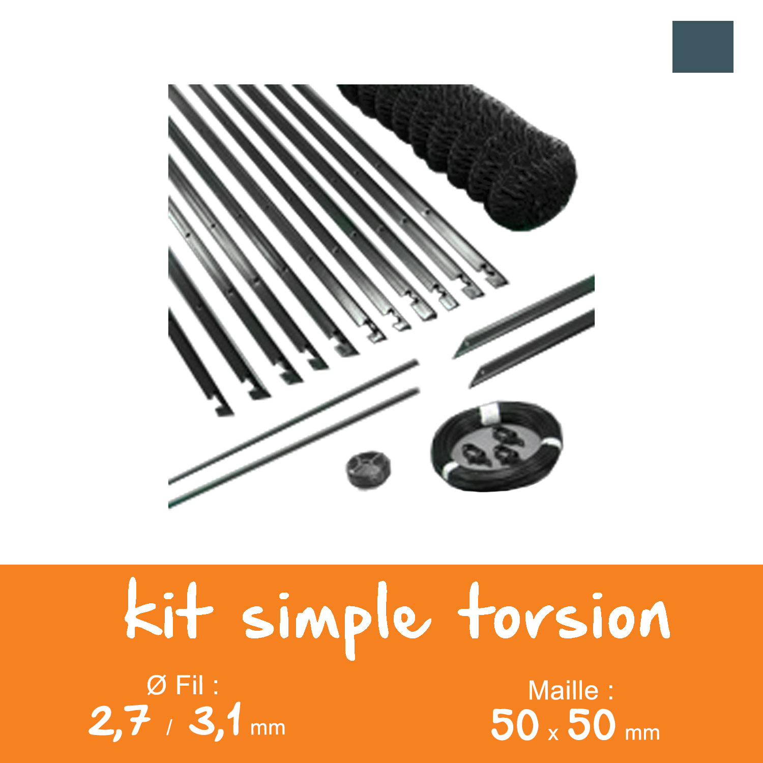Kit grillage simple torsion 50 x 50 mm - Ø 2,7 / 3,1 mm - Lg. 25 m Gris Anthracite