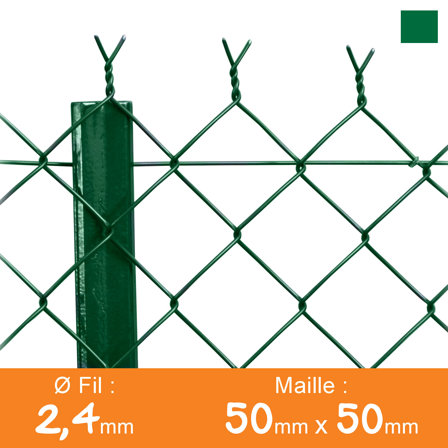 Grillage simple torsion 50 x 50 mm - Ø 2,4 mm - Lg. 25 m Vert
