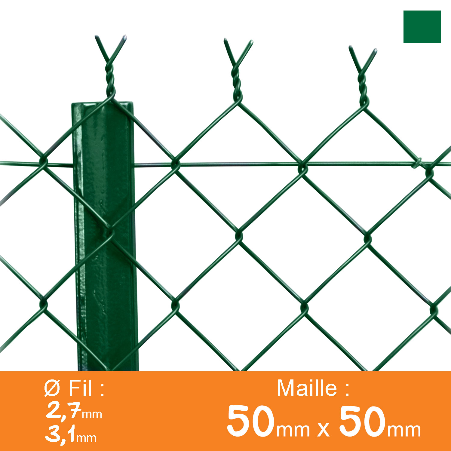 Grillage simple torsion 50 x 50 mm - Ø 2,7 / 3,1 mm - Lg. 25 m Vert