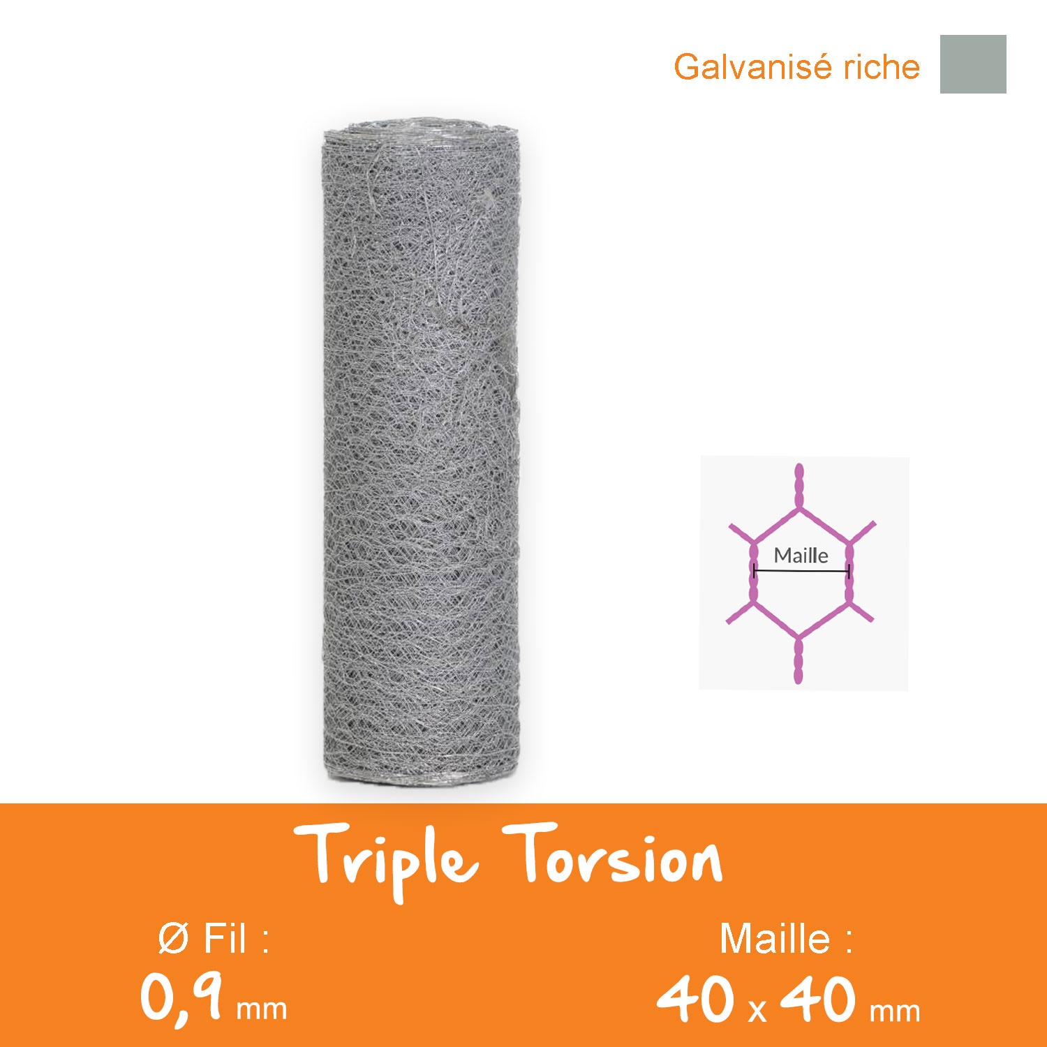 Triple Torsion Galvanisé - Maille 40 mm Ø 0,9 mm - Lg.50ml