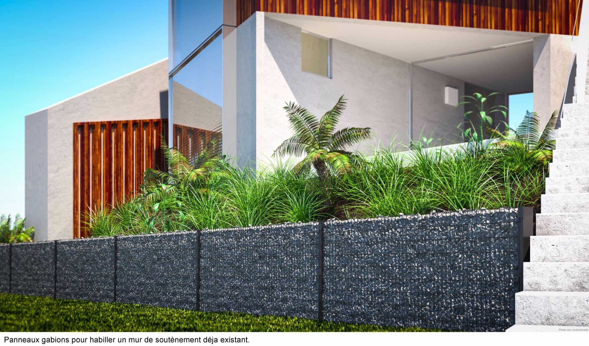 Habillage D Un Mur De Cloture clôture gabion mural platine gris anthracite 5mm / ht 0m90 x 2m00