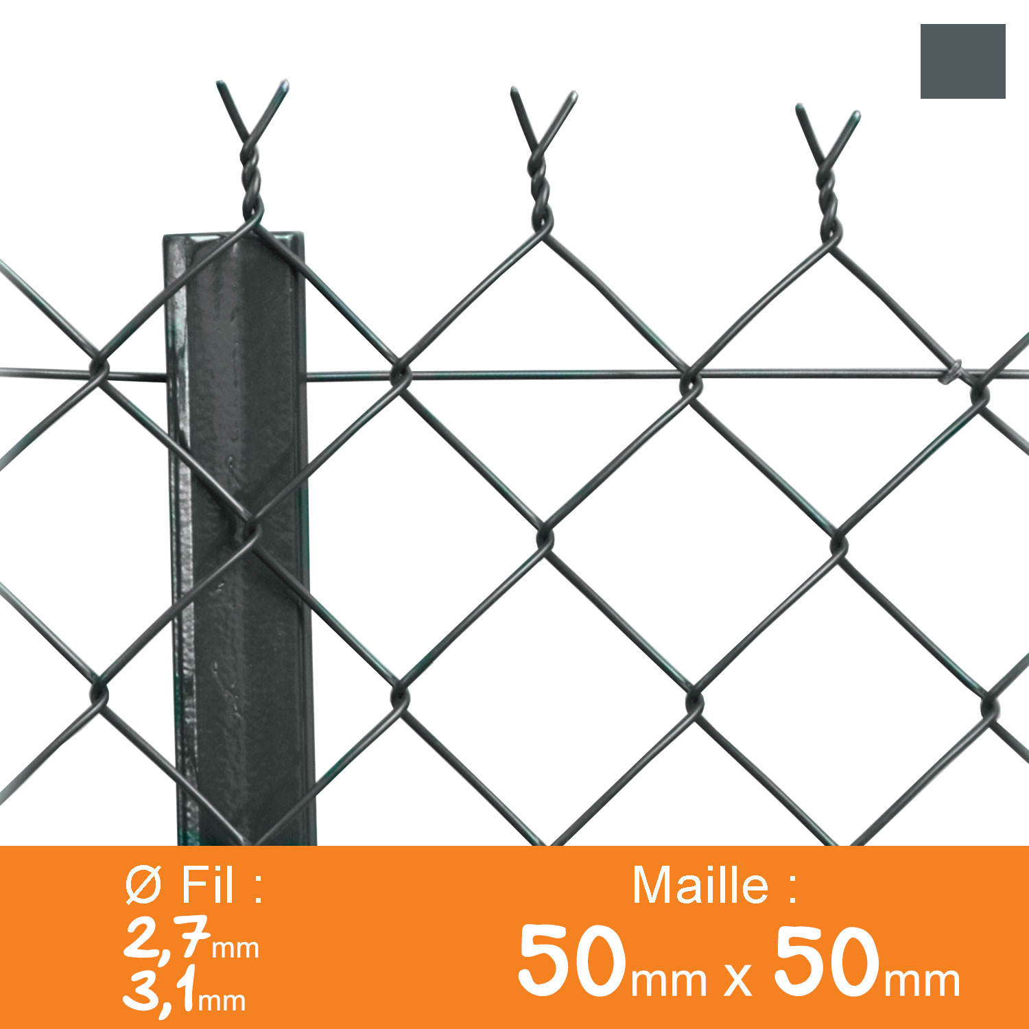 Grillage simple torsion 50 x 50 mm - Ø 2,7 / 3,1 mm - Lg. 25 m Gris Anthracite