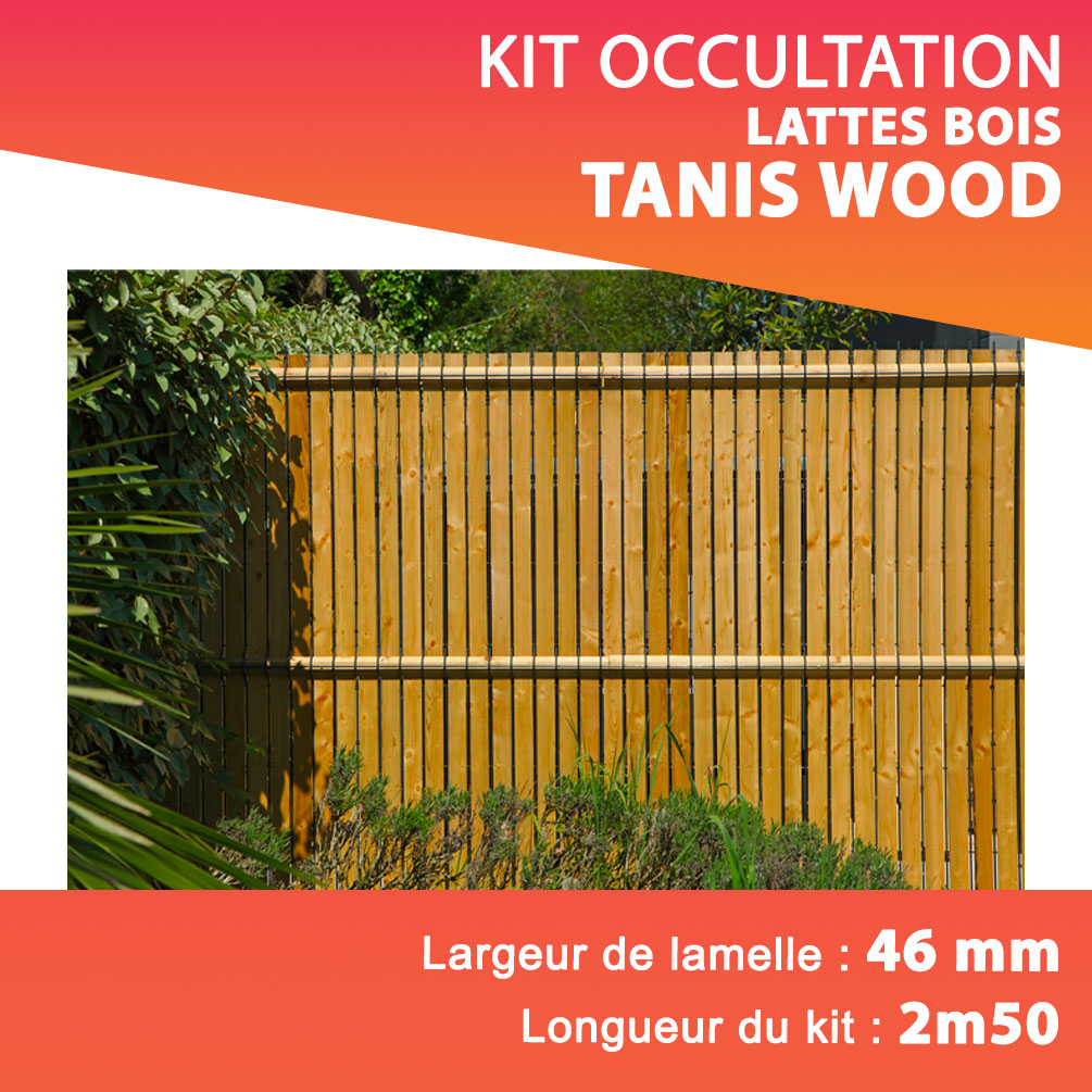 Kit lattes rigides TANIS WOOD en bois Lg 2m50