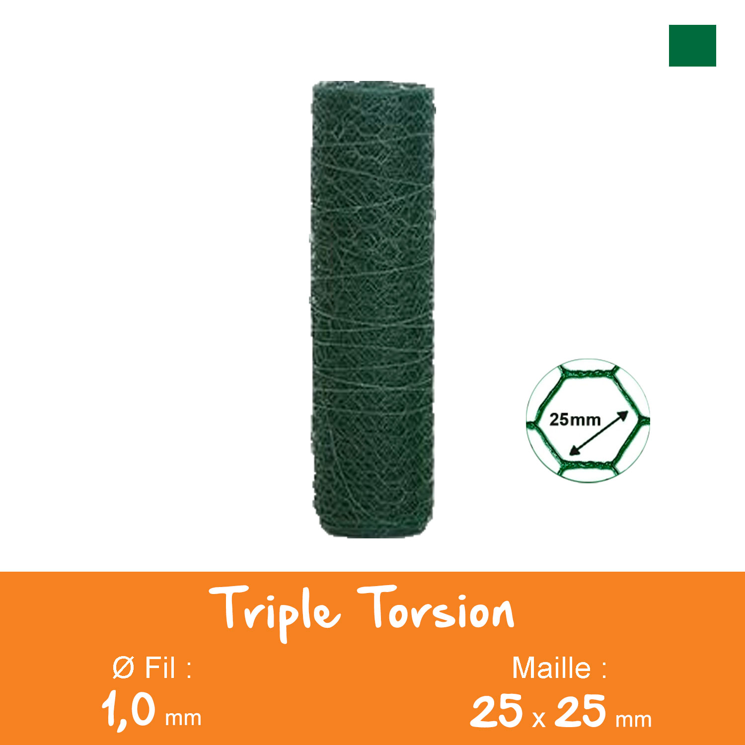 Triple Torsion Plastifié Maille 25mm Ø1,0mm Ht.0m50 Lg.10ml