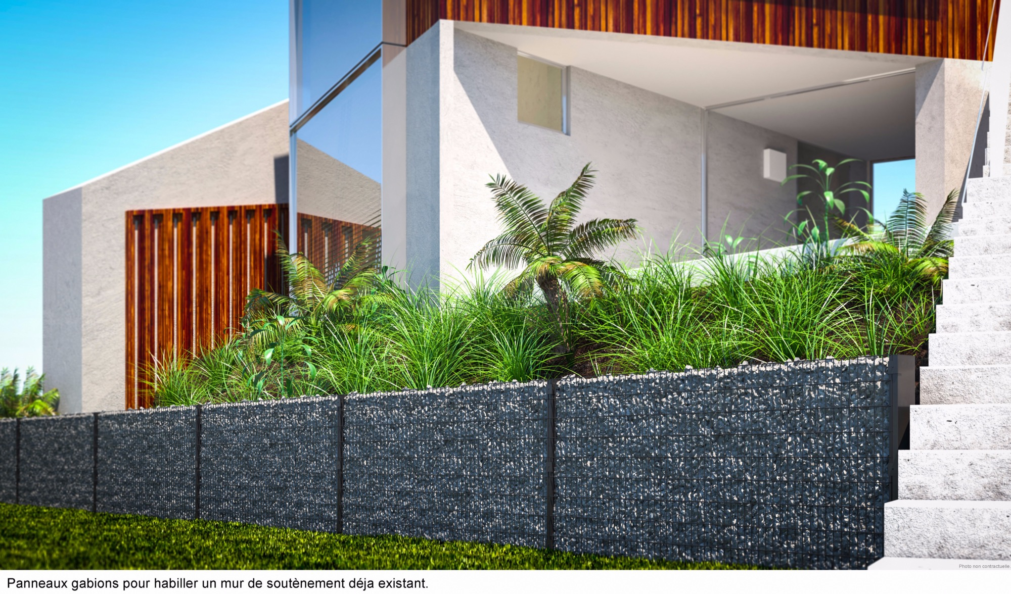 Kit cl ture gabion mural design et moderne for Cloture alu gris anthracite