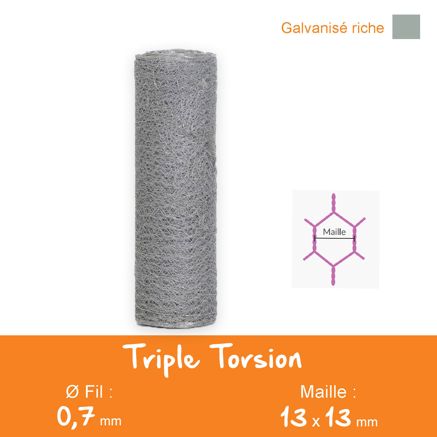 Grillage Triple Torsion Galvanisé - Maille 13 mm - Ø 0,7 mm