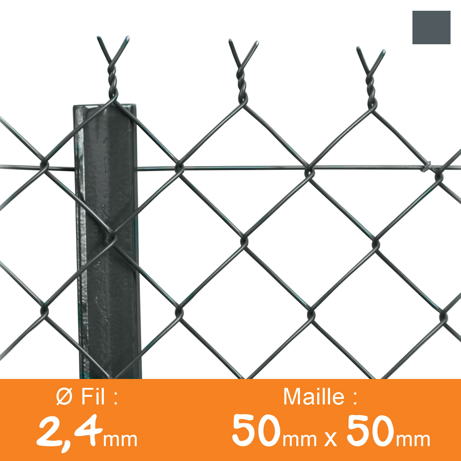 Grillage simple torsion 50 x 50 mm - Ø 2,4 mm - Lg. 25 m Gris Anthracite