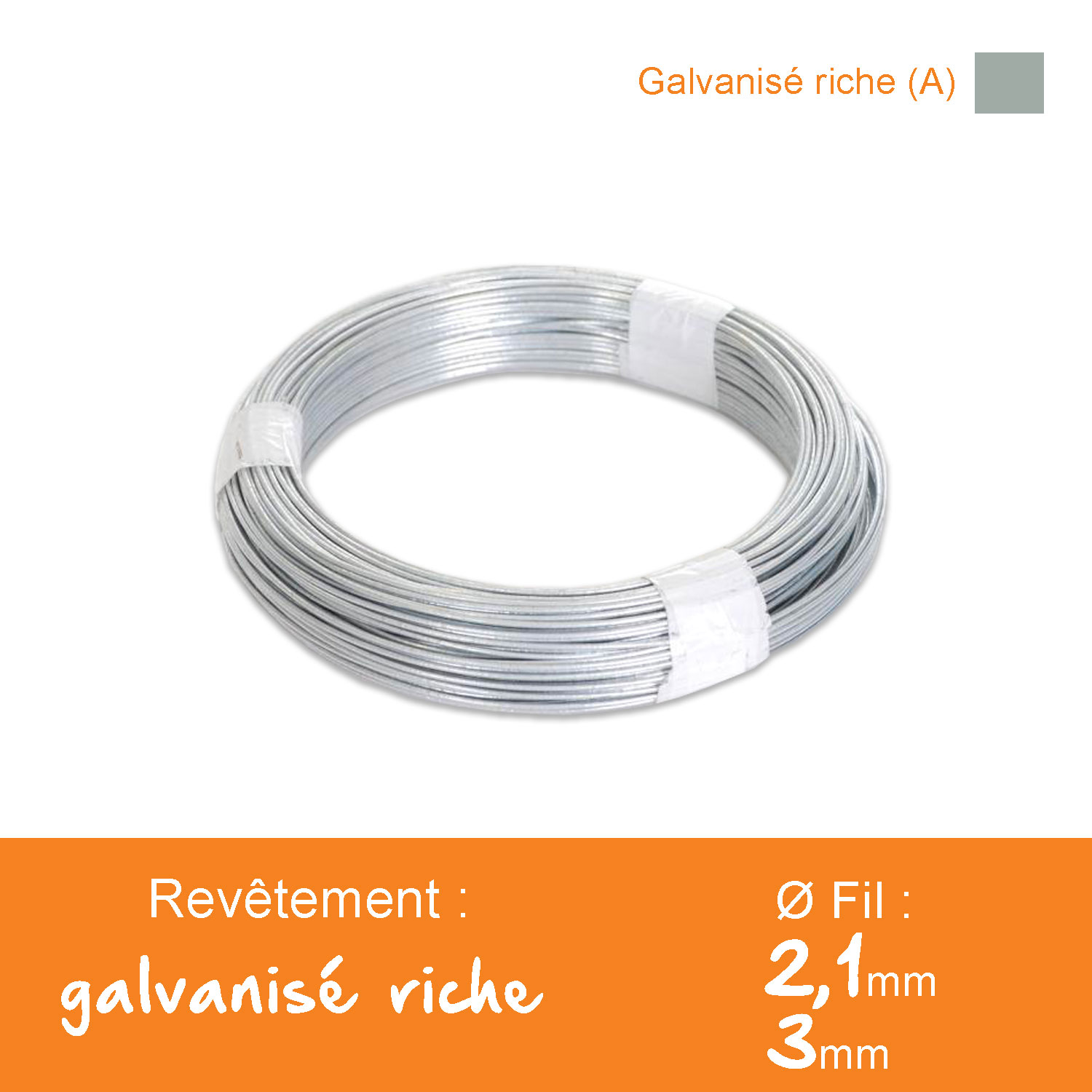 Fil de tension galvanisé riche (A) - Ø 2,1 / 3 mm - Lg. 100 m