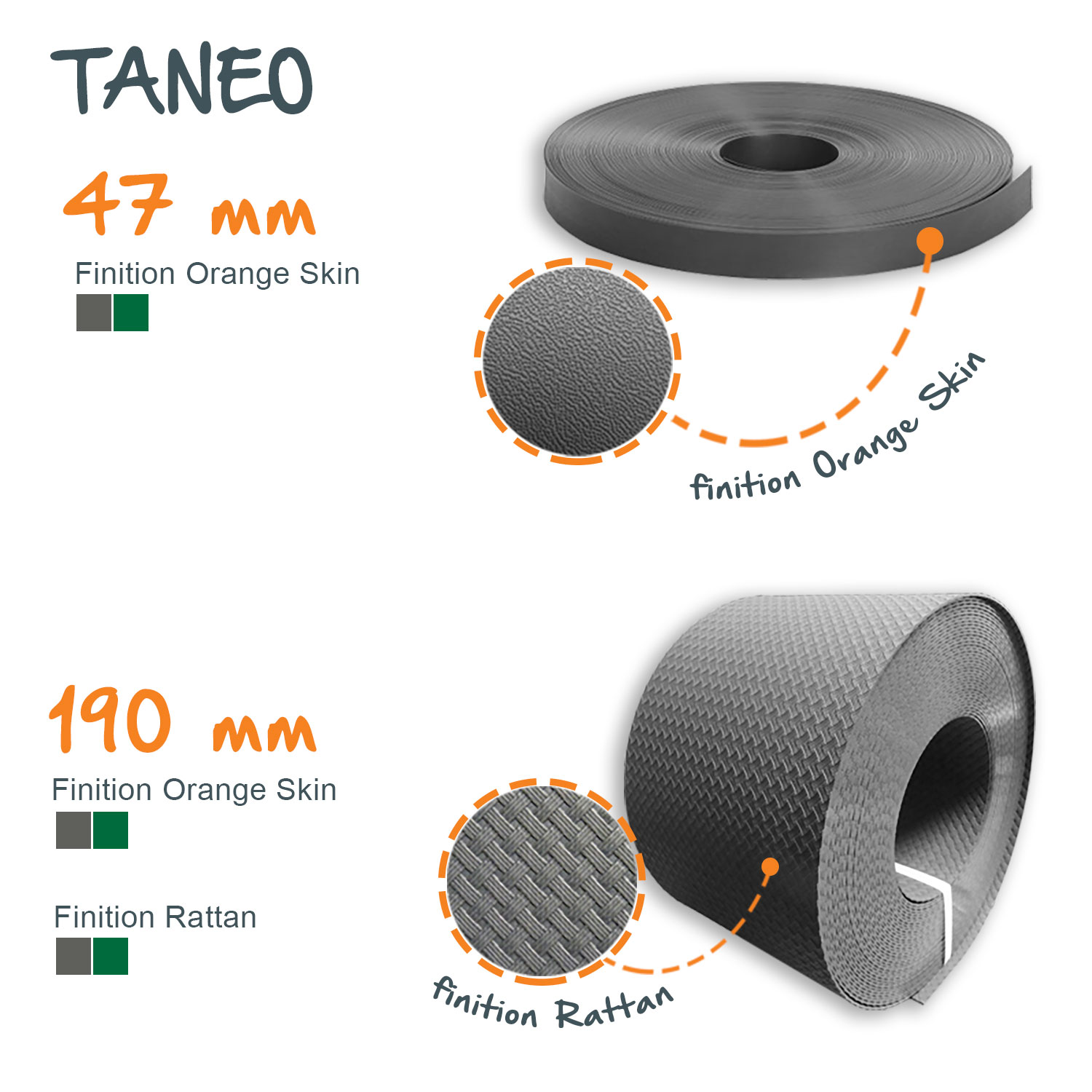 Bandeau occultation TANEO 47 / 190 mm - Lg. 26 / 100 ml - Rattan / Orange Skin