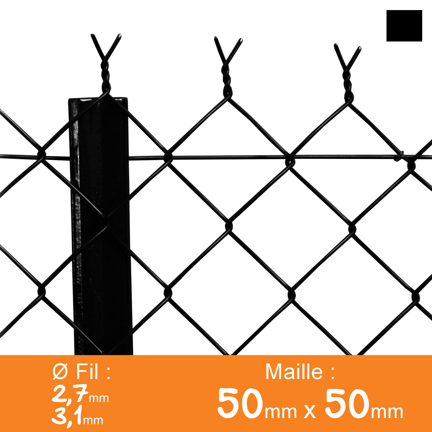 Grillage simple torsion 50 x 50 mm - Ø 2,7 / 3,1 mm - Lg. 25 m Noir
